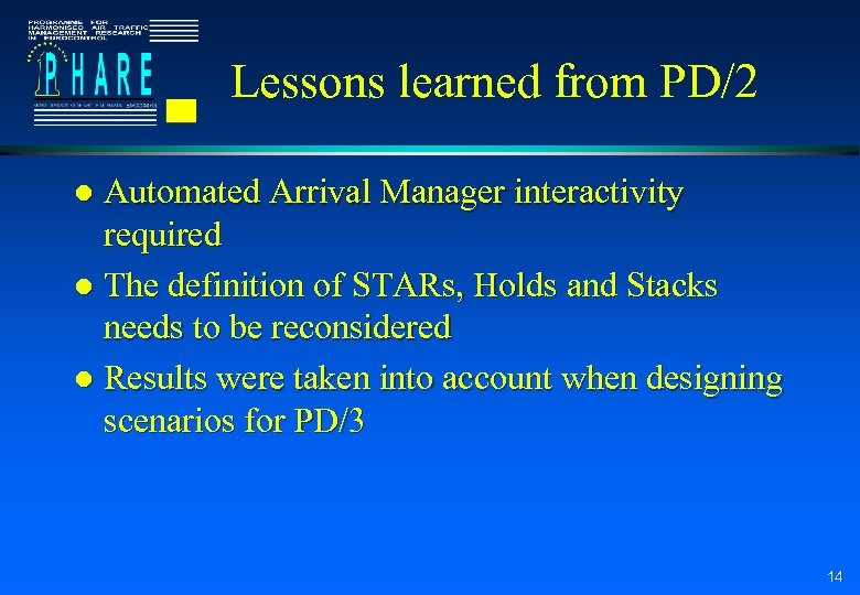 Lessons learned from PD/2 Automated Arrival Manager interactivity required l The definition of STARs,