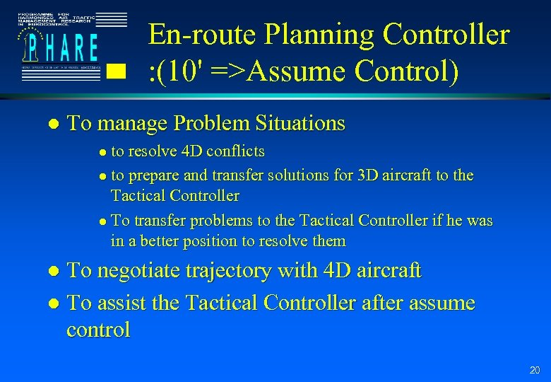 En-route Planning Controller : (10' =>Assume Control) l To manage Problem Situations to resolve