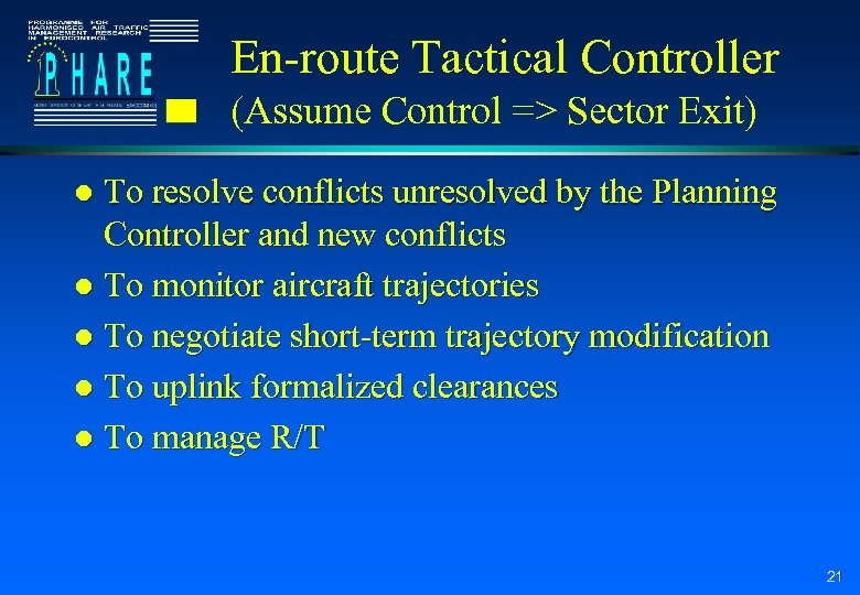 En-route Tactical Controller (Assume Control => Sector Exit) To resolve conflicts unresolved by the