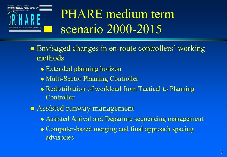 PHARE medium term scenario 2000 -2015 l Envisaged changes in en-route controllers' working methods