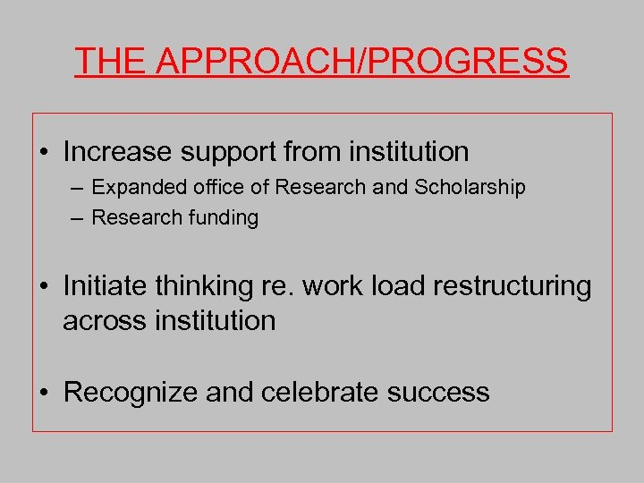 THE APPROACH/PROGRESS • Increase support from institution – Expanded office of Research and Scholarship