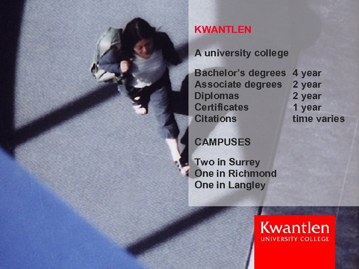 KWANTLEN A university college Bachelor's degrees Associate degrees Diplomas Certificates Citations CAMPUSES Two in