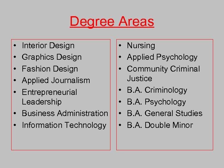 Degree Areas • • • Interior Design Graphics Design Fashion Design Applied Journalism Entrepreneurial