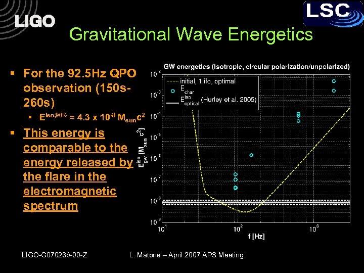 Gravitational Wave Energetics § For the 92. 5 Hz QPO observation (150 s 260