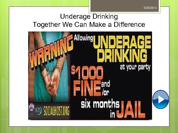 3/20/2014 Underage Drinking Together We Can Make a Difference