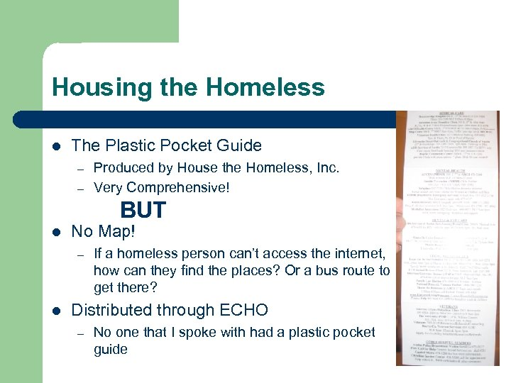 Housing the Homeless l The Plastic Pocket Guide – – Produced by House the