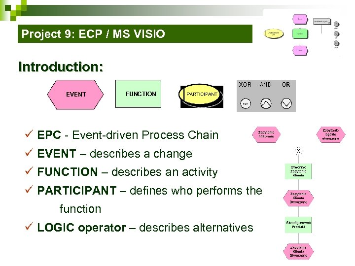 Project 9: ECP / MS VISIO Introduction: EVENT FUNCTION ü EPC - Event-driven Process