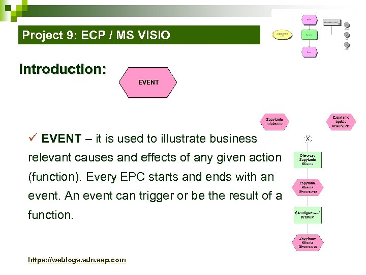 Project 9: ECP / MS VISIO Introduction: EVENT ü EVENT – it is used