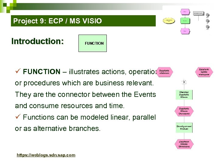 Project 9: ECP / MS VISIO Introduction: FUNCTION ü FUNCTION – illustrates actions, operations