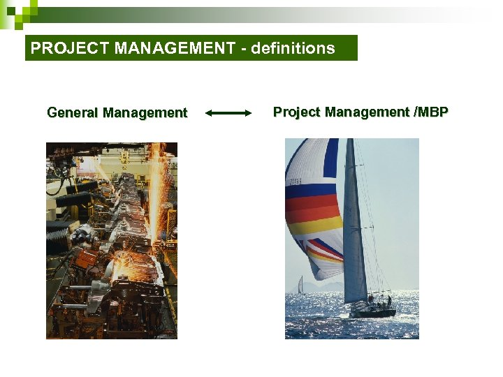 PROJECT MANAGEMENT - definitions General Management Project Management /MBP