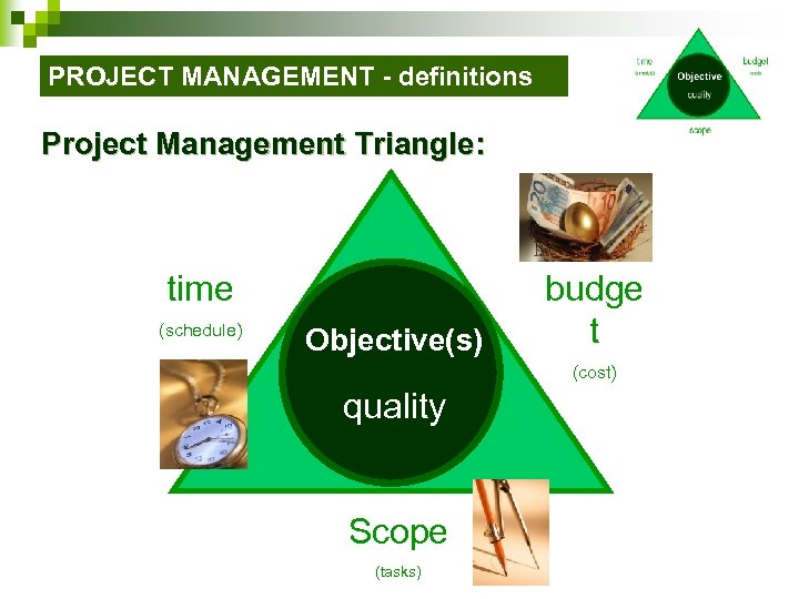 PROJECT MANAGEMENT - definitions Project Management Triangle: time (schedule) Objective(s) budge t (cost) quality