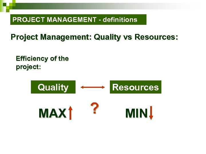 PROJECT MANAGEMENT - definitions Project Management: Quality vs Resources: Efficiency of the project: Quality