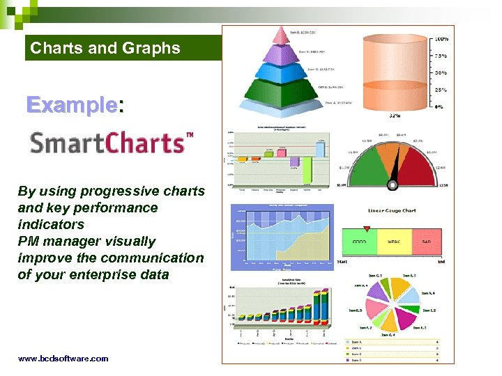 Charts and Graphs Example: By using progressive charts and key performance indicators PM manager