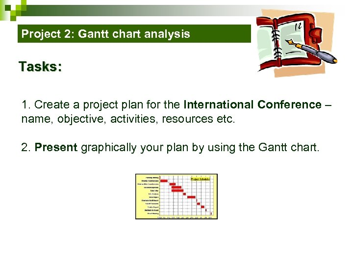 Project 2: Gantt chart analysis Tasks: 1. Create a project plan for the International