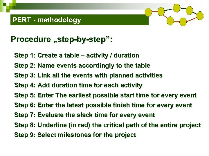 "PERT - methodology Procedure ""step-by-step"": Step 1: Create a table – activity / duration"