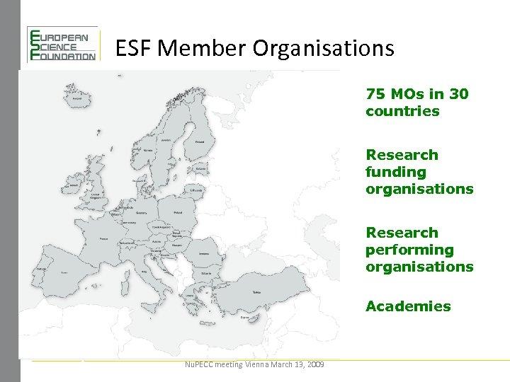 ESF Member Organisations 75 MOs in 30 countries Research funding organisations Research performing organisations