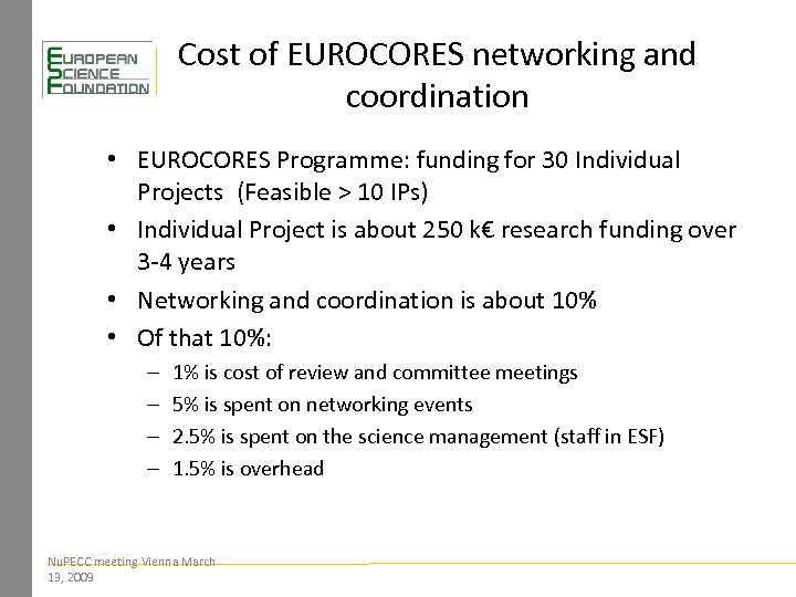 Cost of EUROCORES networking and coordination • EUROCORES Programme: funding for 30 Individual Projects
