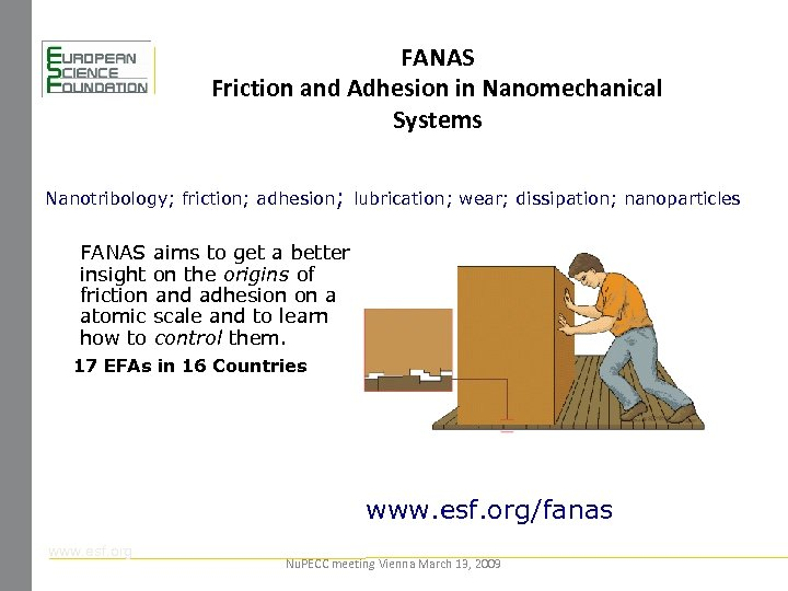 FANAS Friction and Adhesion in Nanomechanical Systems Nanotribology; friction; adhesion; lubrication; wear; dissipation; nanoparticles
