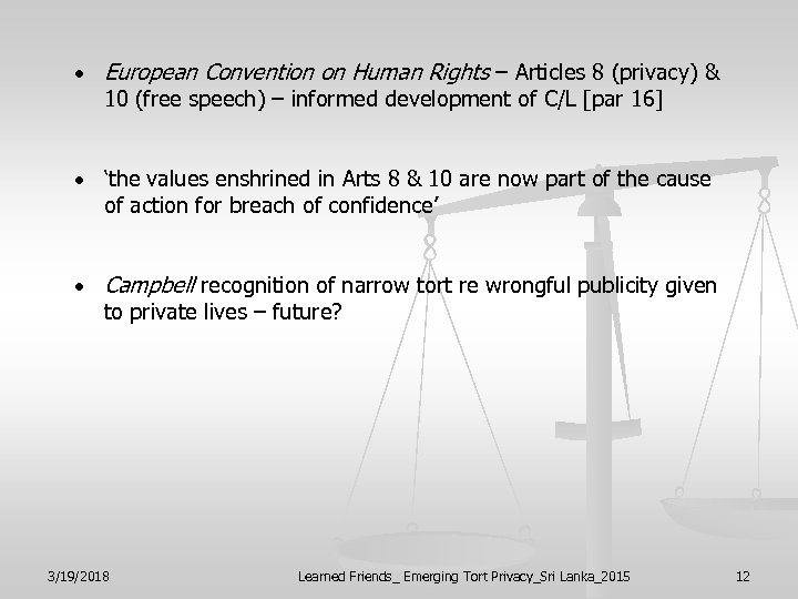 European Convention on Human Rights – Articles 8 (privacy) & 10 (free speech)