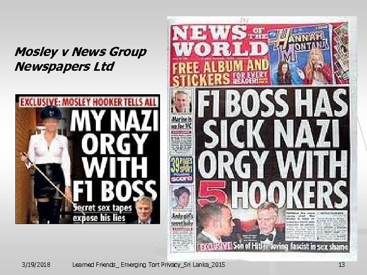 Mosley v News Group Newspapers Ltd 3/19/2018 Learned Friends_ Emerging Tort Privacy_Sri Lanka_2015 13