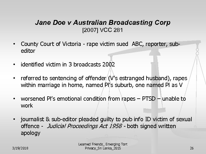 Jane Doe v Australian Broadcasting Corp [2007] VCC 281 • County Court of Victoria