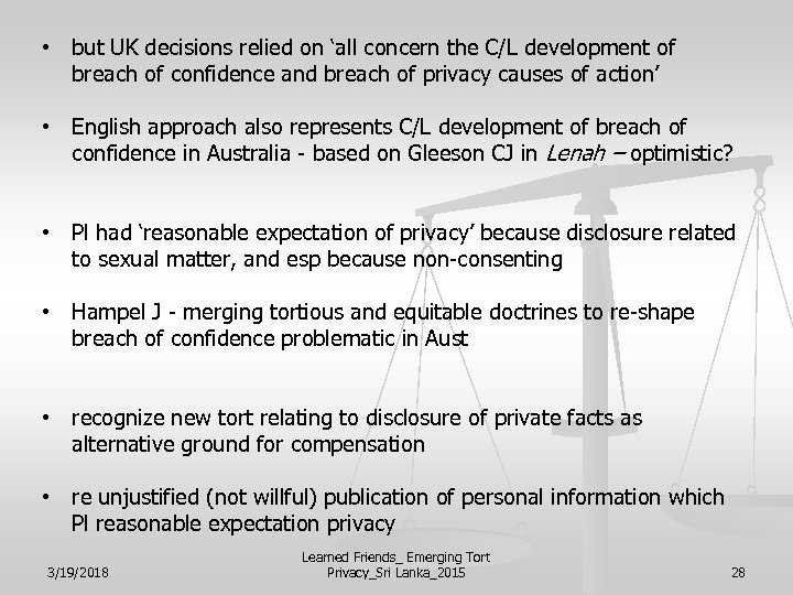 • but UK decisions relied on 'all concern the C/L development of breach