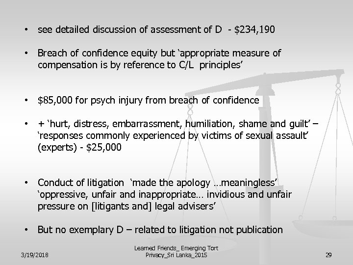 • see detailed discussion of assessment of D - $234, 190 • Breach