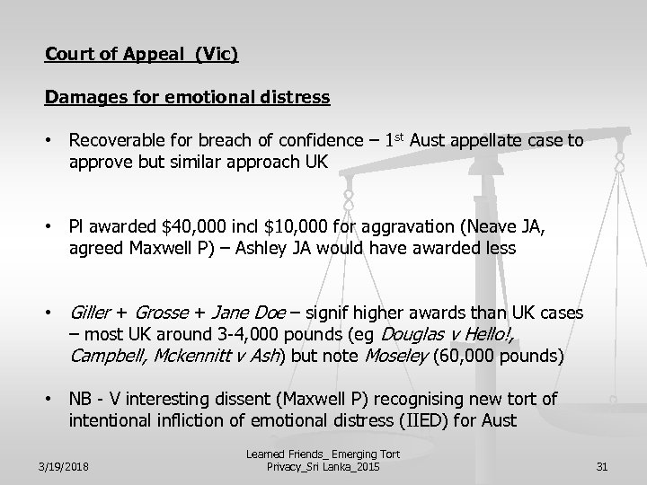Court of Appeal (Vic) Damages for emotional distress • Recoverable for breach of confidence