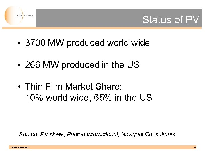 Status of PV • 3700 MW produced world wide • 266 MW produced in