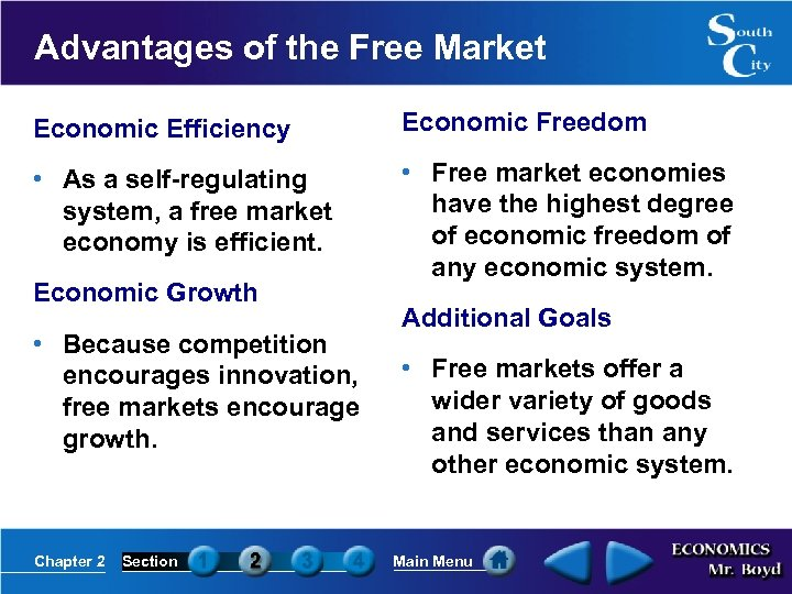 Advantages of the Free Market Economic Efficiency Economic Freedom • As a self-regulating system,