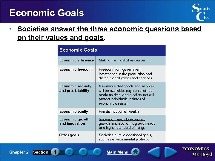 Economic Goals • Societies answer the three economic questions based on their values and