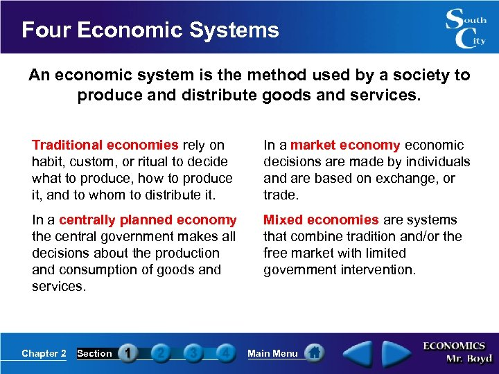Four Economic Systems An economic system is the method used by a society to