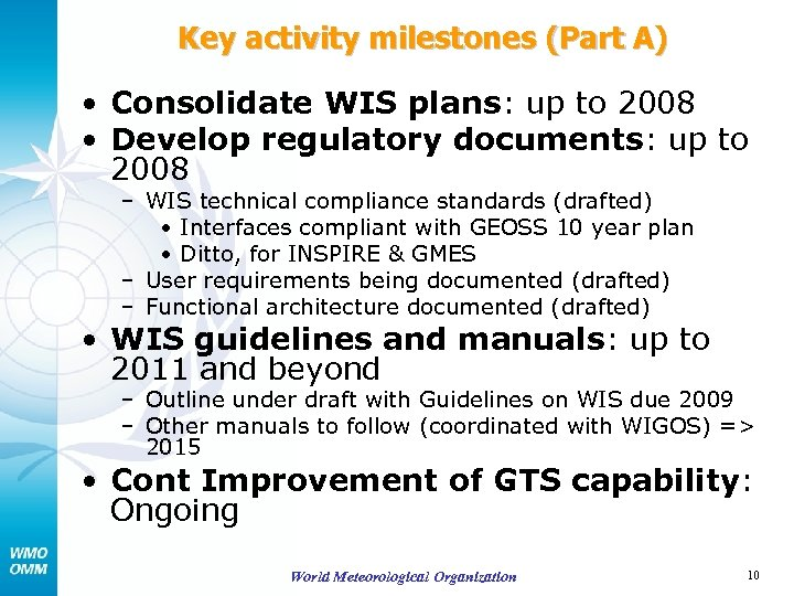 Key activity milestones (Part A) • Consolidate WIS plans: up to 2008 • Develop