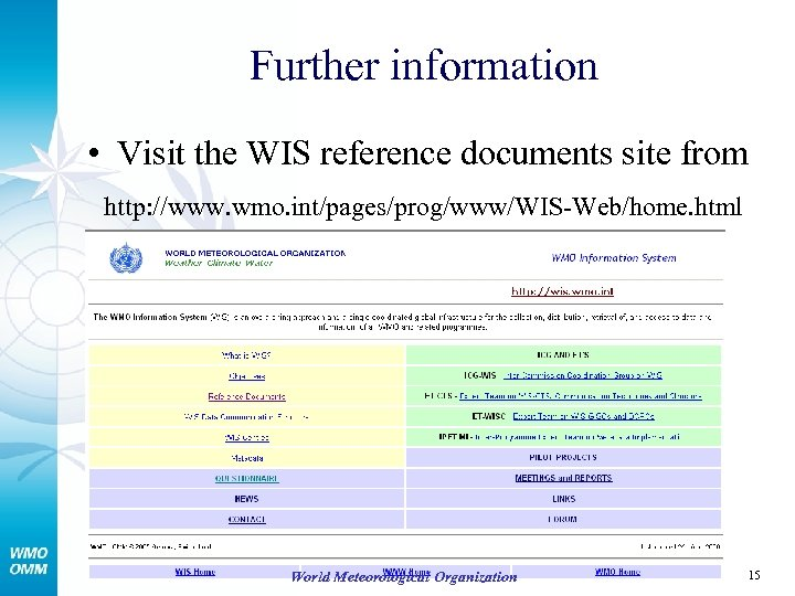 Further information • Visit the WIS reference documents site from http: //www. wmo. int/pages/prog/www/WIS-Web/home.