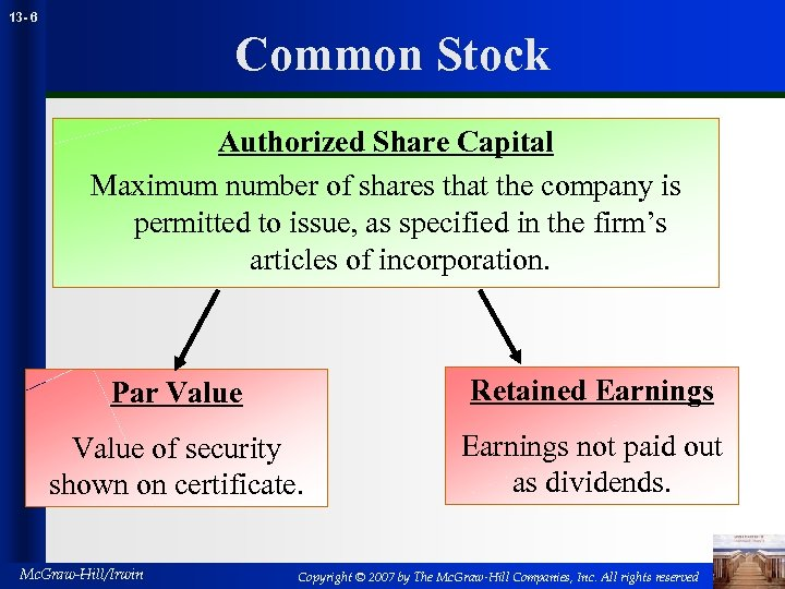 13 - 6 Common Stock Authorized Share Capital Maximum number of shares that the