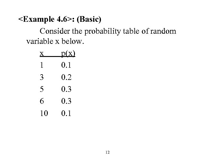 <Example 4. 6>: (Basic) Consider the probability table of random variable x below. x