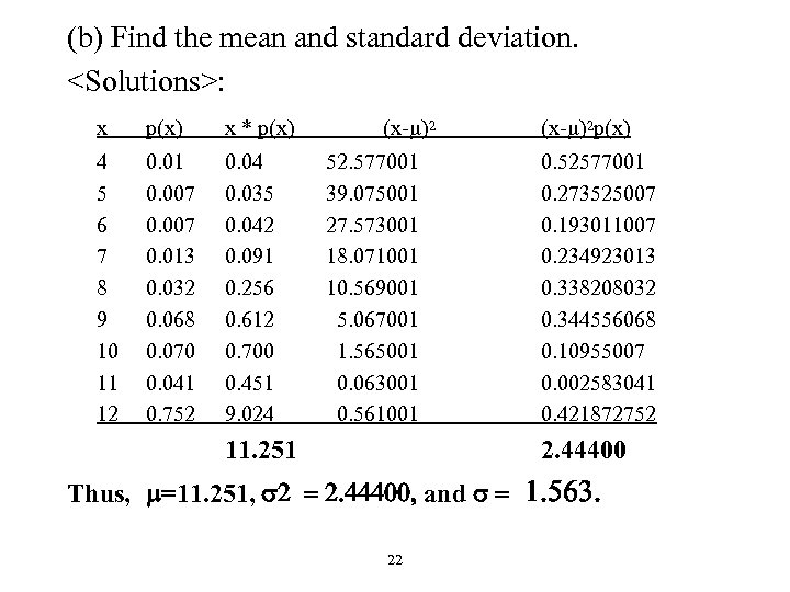 (b) Find the mean and standard deviation. <Solutions>: x p(x) x * p(x) 4
