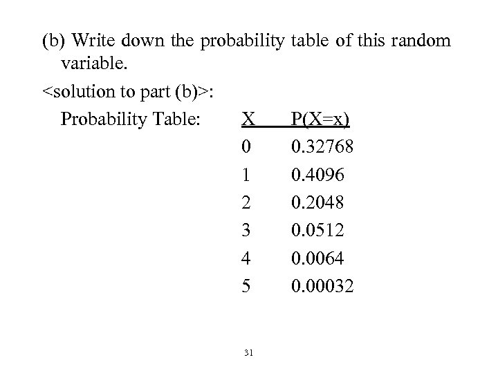 (b) Write down the probability variable. <solution to part (b)>: Probability Table: X 0