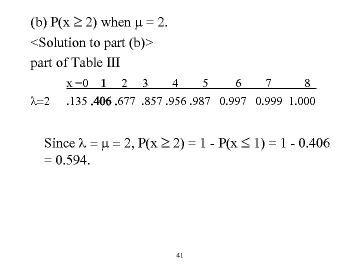 (b) P(x 2) when m = 2. <Solution to part (b)> part of Table