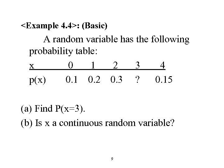 <Example 4. 4>: (Basic) A random variable has the following probability table: x 0