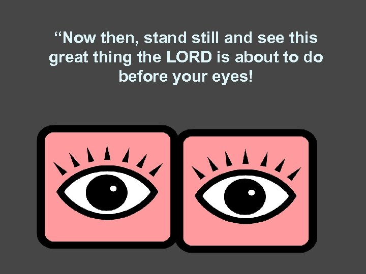 """""""Now then, stand still and see this great thing the LORD is about to"""