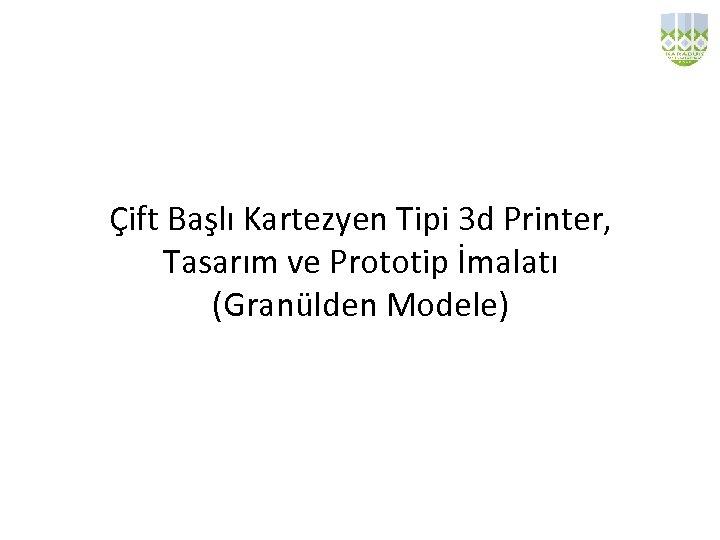 Çift Başlı Kartezyen Tipi 3 d Printer, Tasarım ve Prototip İmalatı (Granülden Modele)