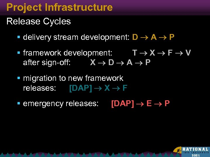 Project Infrastructure Release Cycles § delivery stream development: D A P § framework development: