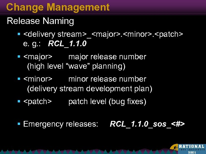 Change Management Release Naming § <delivery stream>_<major>. <minor>. <patch> e. g. : RCL_1. 1.