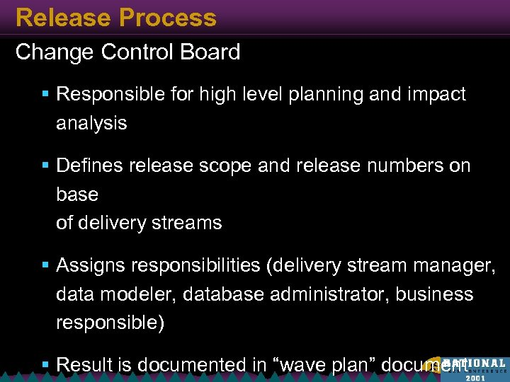 Release Process Change Control Board § Responsible for high level planning and impact analysis