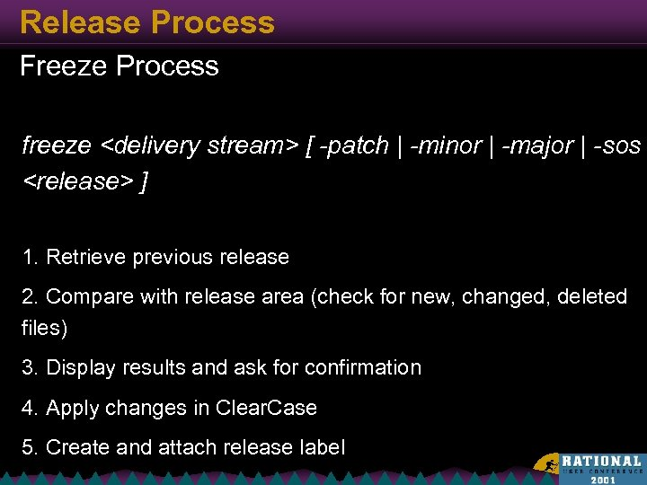 Release Process Freeze Process freeze <delivery stream> [ -patch | -minor | -major |