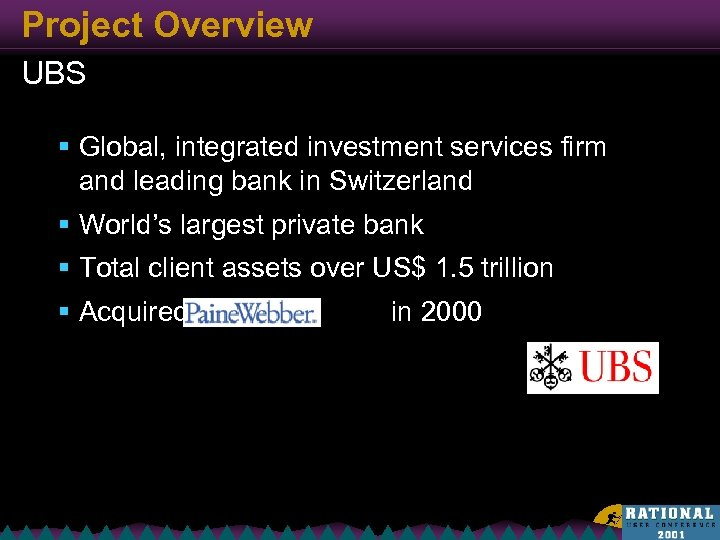 Project Overview UBS § Global, integrated investment services firm and leading bank in Switzerland