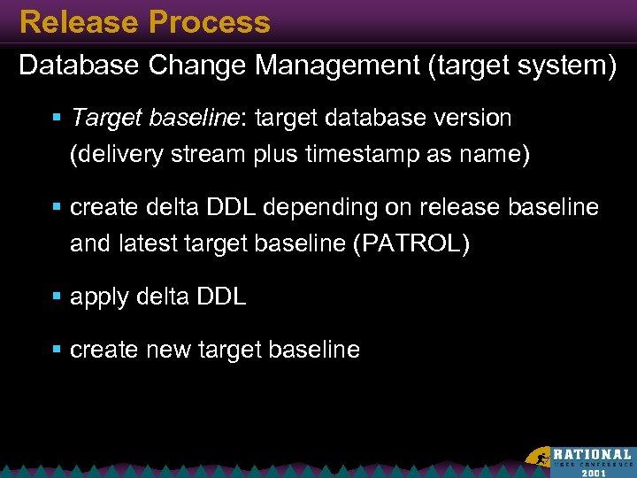 Release Process Database Change Management (target system) § Target baseline: target database version (delivery