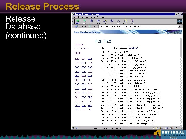 Release Process Release Database (continued)