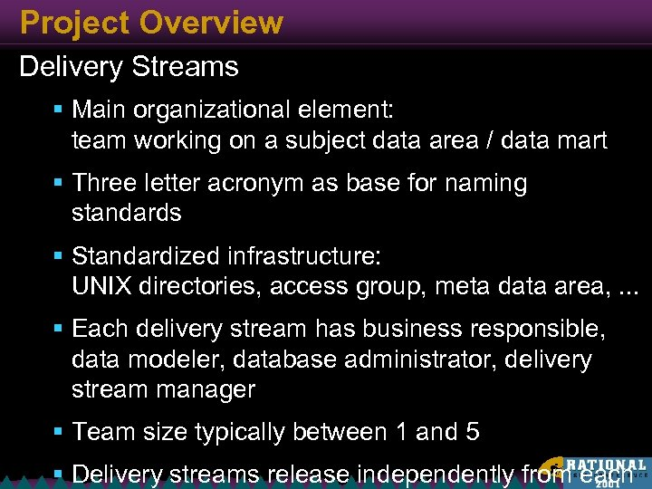 Project Overview Delivery Streams § Main organizational element: team working on a subject data